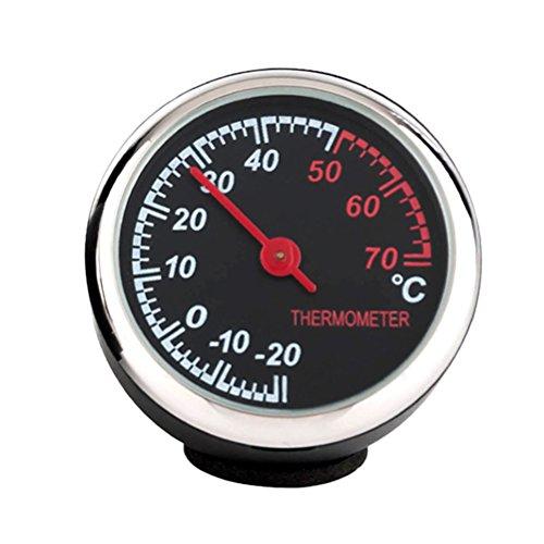 WINOMO Auto-Thermometer Edelstahl klein mit Zeiger für KFZ-Innenraum (schwarz)