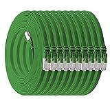 1aTTack.de 0,25m - grün - 10 Stück CAT.7 Flachkabel Netzwerkkabel Rohkabel Gigabit Lan (10Gbit/s) Flachbandkabel Verlegekabel Flach Slim