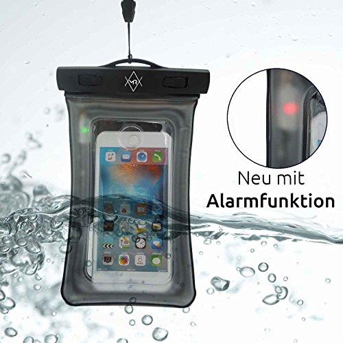 IT Wasserdichte Handyhülle mit eingebautem Alarm Macht Ihr Handy zur Unterwasserkamera - Wasserfeste Unterwasserhülle - Handytasche wasserdicht für Urlaub & Strand ()