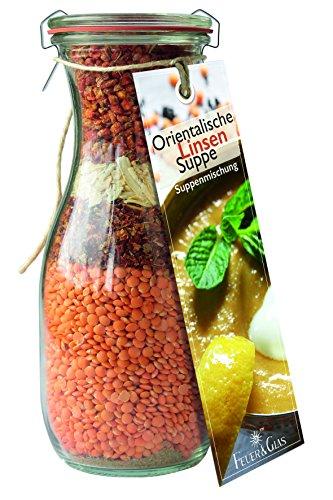Orientalische Linsensuppe - eine leckere Kombination aus Linsen und Gemüse - als Essen zum Mitnehmen -Linsensuppe aus der Flasche als Geschenkidee - von Feuer & Glas
