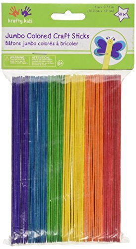 Jumbo Craft Sticks-Colored 6 50/Pkg by Multicraft Imports