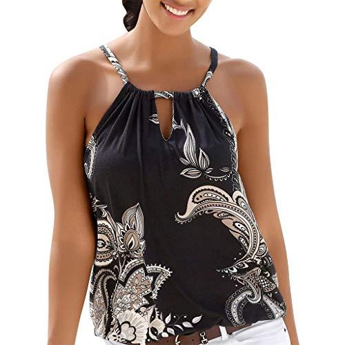 Oksea Neckholder Oberteil mit Print Neckholder Tops Damen Frauen ärmellose Tops Camisole Strappy Beach Style Weste T Shirt Bluse