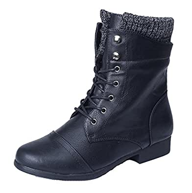 AgeeMi Shoes Ladies Lace up Low Heel Suede Calf Mid Winter Casual Work Boots,EuX41 Black 36
