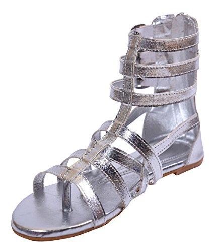 John Sparrow casual plat sandale bride cheville zipper chaussures pour femmes - taille disponible Argent