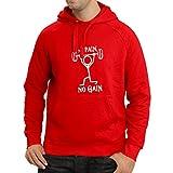 lepni.me Sudadera con capucha No Pain No Gain - ropa para el uso diario - fitness, crossfit, gimnasio - citas de deportes de motivación (Large Rojo Blanco)
