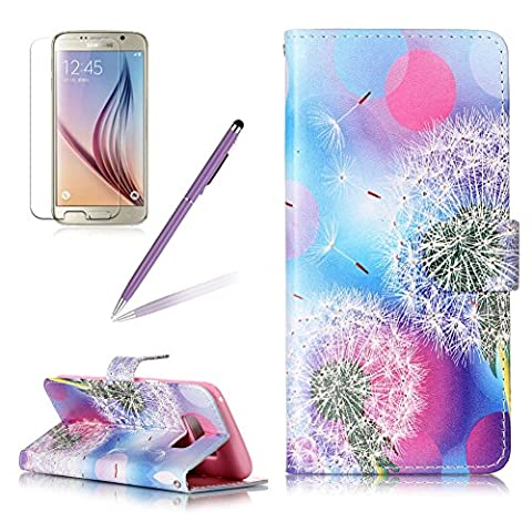 Girlyard For Samsung Galaxy S8 PLUS Painted Dandelion Design PU Leather Flip Wallet Cover Case with Slim-Fit Shockproof TPU Bumper Built-in Cash and Card Slots with Magnetic Clasp Folding