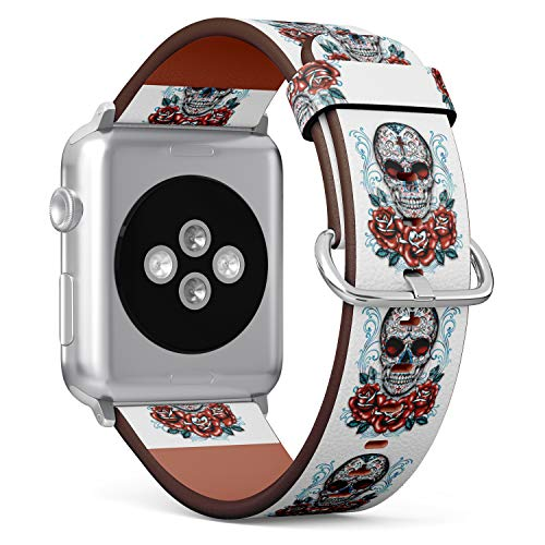 tch Armband, Echtes Leder Uhrenarmband f¨¹r Apple Watch Series 4/3/2/1 Sport Edition 38/40mm - Skull with Christian Cross and Rose ()