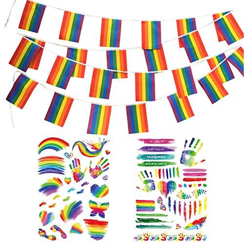 Preisvergleich Produktbild Gay Pride Wimpelkette mit LGBT-Aufkleber-Set,  38 Stück,  Regenbogenbanner,  Flagge und 2 Stück,  Gay Pride Body & Face Temporary Tattoo Farbe für Gay Pride Day Pride Festival Karneval Party Parade