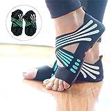 Lacyie Frauen rutschfeste Yoga Socken, Baumwolle Hälfte Fuß five-toe Grip Anti-rutsch Yoga Pilates Socken Sohle Schuhe für Fitness Dance, Turquoise 37/38