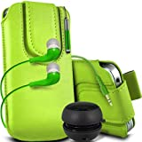 ONX3 Doro Liberto 810 Protective PU Leather Magnetic Pull Cord Slip In Pouch Quick Release Case With Mini Capacitive Retractable Stylus Pen, 3.5mm In Ear Earphones, Mini Rechargeable Capsule Speaker (Green)
