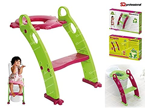FROGGIE TODDLER TOILET SEAT WITH LADDER CHILDREN STEP UP STOOL. NON-SLIP POTTY TRAINING SEAT FOR GIRLS AND BOYS EASY INSTALL CHAIR FUN COLOURS & PREMIUM QUALITY BY SourceDIY