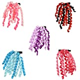 #7: CrayonFlakes Kids Girls Handmade Hair Pin/Alligator Clip with Ribbons Set of 5