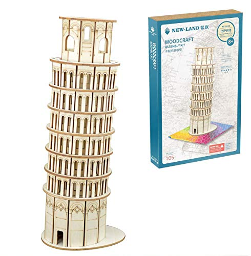 HWQ 3D Wooden Puzzle Model, dreidimensionales Architekturmodell, schiefen Turm von Pisa-Color Box Packaging, DIY Handmade Toys, Creative Gifts, Teens