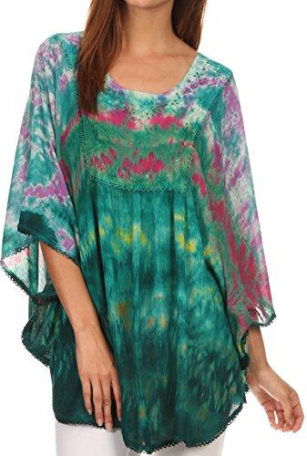 Sakkas 15031 - Lepha Lange Weit Bunt Abbindebatik Sequin gesticktes Poncho Top Bluse - Violett - OS