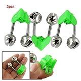 TOOGOO(R) 3 pz Campanello allarme pesca Canna da pesca Pole doppia campana con clip verde