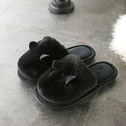 DogHaccd pantofole,Pantofole femmina caldo invernale di una camera da letto della coppia del metà-slip e pantofole coppie maschio soggiorno con eleganti scarpe Nero1