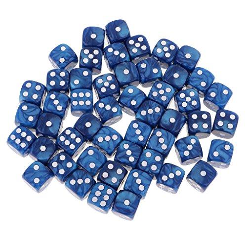 Gazechimp 50 Stück 16mm D6 Würfel-Set, Farbwahl - Blau Farbige Sechs-seitige Würfel