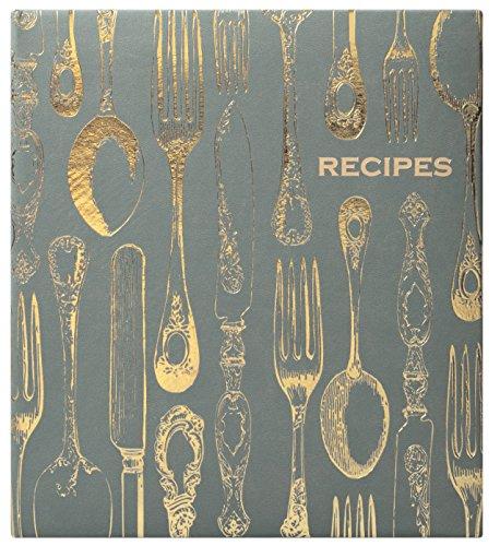 Eccolo Organizer für Rezepte, Design: Weltreisender, englische Version, Kunstleder, London Grey/Gold, 24.13 x 21.59 x 2.54 cm (Bridal Shower Vorspeisen)