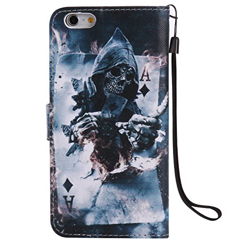 Qiaogle Telefon Case - PU Leder Wallet Schutzhülle Case für Apple iPhone 7 Plus (5.5 Zoll) - KT16 / City Landschaft KT19 / Schädel Charmeur