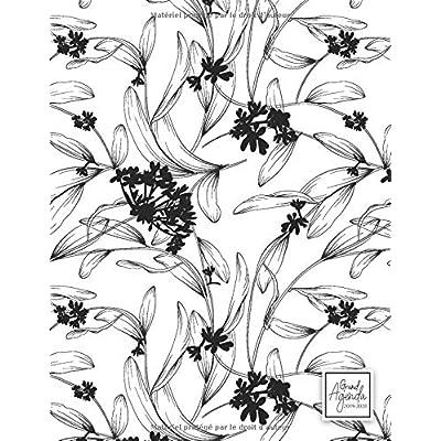 Grand Agenda 2019-2020: Agenda de Juillet 2019 à Juillet 2020, Semainier grand format 21x28cm, simple & graphique, idéal prise de rendez-vous, motif floral noir & blanc