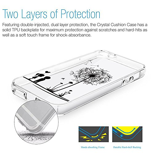 Qissy®iPhone SE 5S 5 Hülle Case Transparent Handyhülle Schutzhülle Durchsichtig TPU Crystal Clear Case Backcover stampa modello Apple-Wassermelone Muster (1) 15