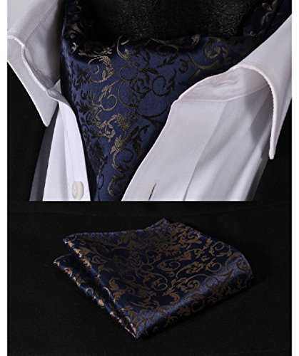 Hisdern Krawattenschal Set, Ascot, Herren, Blumenmuster, gewebter Jacquard Gr. Einheitsgröße, Navy Blue / Brown