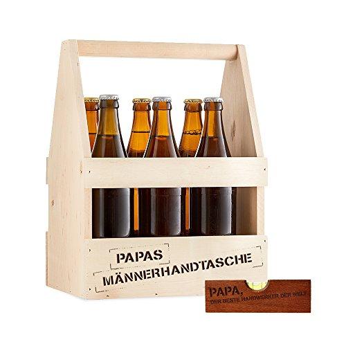 Flaschenträger und Flaschenöffner mit Gravur für Papa – 2er Set – Standard – Träger aus Holz für 6 Flaschen als Männerhandtasche - Öffner als Wasserwaage – Vatertagsgeschenk