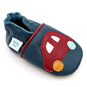Dotty Fish Leder Babyschuhe - rutschfest Wildledersohle – chromfrei weiche Lederschuhe - Baby Jungen - marineblau Auto - 12-18 Monate