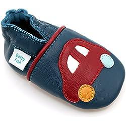 Dotty Fish - Zapatos de cuero suave para bebés - Niños - Azul con coche rojo - 6-12 Meses