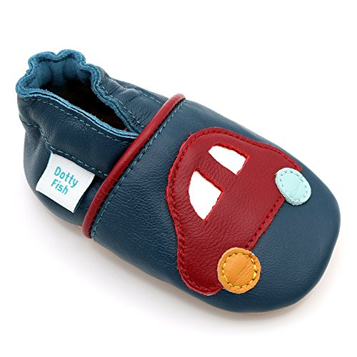 Dotty Fish Soft Leather Baby and Toddler Shoes with Non-Slip Suede Soles. Boys Vehicle Designs with Cars, Diggers and Fire Engine. 0-6 Months to 4-5 Years