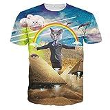 HWHColor Unisex 3D gedrucktes Katzen-Kurzschluss-Hülsen-Hemd-T-Shirt Beiläufige grafische T-Stücke