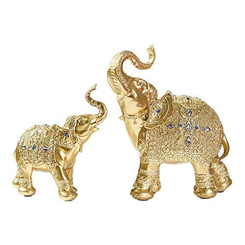 LPRWEC Gold Harz Kreative Skulptur Einfache Erwachsene und Kleinkind Elefant Handmade Abstract Statue Home Office Dekor Raum Kabinett Handwerk Kunst Ornamente Skulptur dauerhafte Skulptur Geschenk - Kunst-kabinett