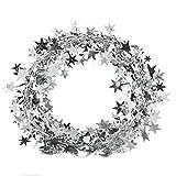 welecom 7,5m langer Draht Weihnachten Stern Rattan Zuckerrohr Dekoration Geschenk Pure Color Band silber