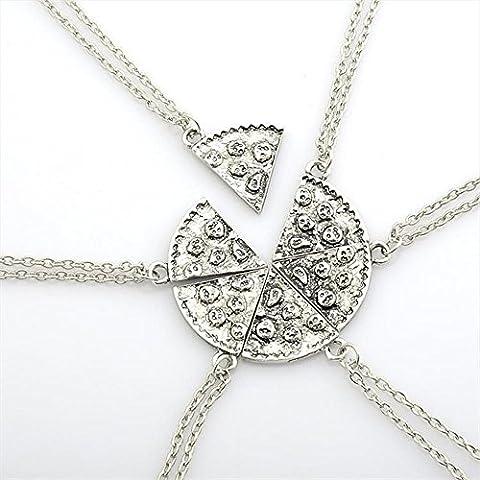 Contever® 1 Set of 6 pcs Antique Pizza Slice Pendant Friendship Necklace - Silver Color