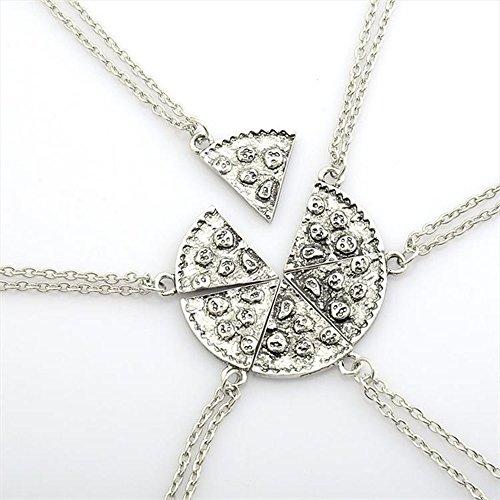 conteverr-1-set-of-6-pcs-antique-pizza-slice-pendant-friendship-necklace-silver-color