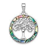 Colgante de plata de ley chapado en rodio con forma de círculo de abulón con árbol de la vida