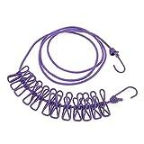 nuzamas 12Wäscheklammern Clips Schirmhaspel tragbar erweiterbar verstellbar Roll-Wäscheständer für Camping Reise Kleidung Wäschetrocknen Innen- und Außenbereich violett