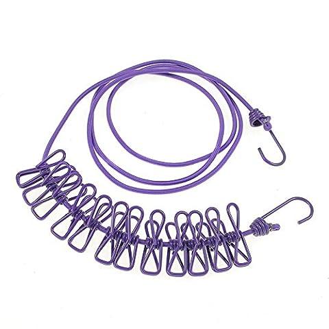Nuzamas 12Pinces Pinces à linge Étendoir Portable extensible réglable rétractable Étendoir à linge pour le camping voyage Vêtements à linge Séchage en intérieur ou en extérieur Violet