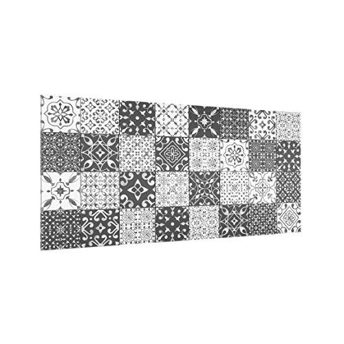 Bilderwelten Spritzschutz Glas - Fliesen Mustermix Grau Weiß - Querformat 1:2, 40cm x 80cm - Porzellan-fliesen