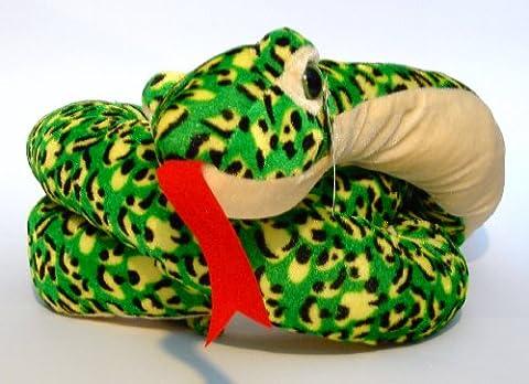Schlange Plüsch 180cm Grün-Gelb gefleckt Plüschtier