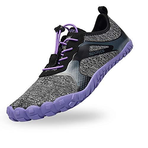 BAOLESEM Herren Damen Barfußschuhe Outdoor Fitnessschuhe Sportschuhe Trekking Schuhe,A-Lila,eu38