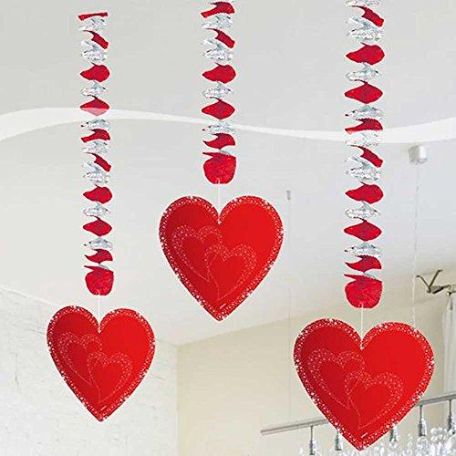 (Folat Hochzeit Hänge-Spiralen mit Herzen Valentinstag Party-Deko 3 Stü)
