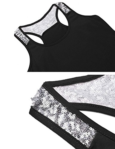 Damen Tank Top Schwarz Basic Pailletten Shirt Schwarz