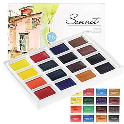 Aquarellfarbe set Hochwertig- Zur Auswahl: 16 oder 24 Farben - Qualität von Sonnet (16er Set) von Sonnet auf TapetenShop