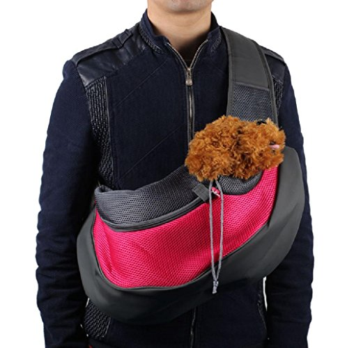 Sannysis Mochila de Viaje para perros bolsa de transporte de malla para mascotas Pet Carrier Carseat Segura (Rosa, L)