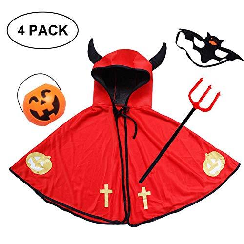 Devil Baby Kostüm Red - GLXQIJ Unisex Kids Cape Umhang Mit Kapuze Für Devil Demon Hexe Halloween Weihnachten Cosplay Kostüme,Red,4PCS