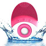 Sonic Facial Brush, Silicon Face Brush Vibrating Waterproof Cleansing System with Wireless Charging