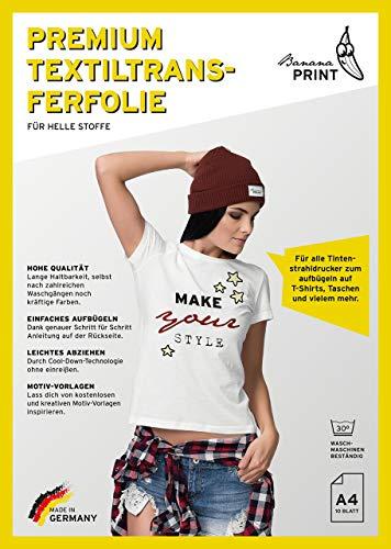 BananaPrint 10 Blatt Premium A4 T-Shirt Transferfolie Bügelfolie für helle Stoffe/MADE IN GERMANY/Transferpapier für Inkjet Tintenstrahldrucker/Über 100 GRATIS Motiv-Vorlagen