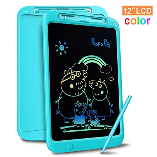 Richgv Bunte 12 Zoll LCD Writing Tablet mit Anti-Clearance Funktion und Stift, Digital Ewriter Grafiktabletts Mini Schreibtafel Papierlos Notepad Doodle Board für Kinder Über Jahre 3 (Blau)