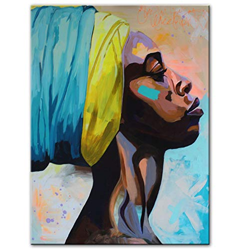 xiaoshuaige Abstrakte afrikanische Frauen Leinwand Gemälde Poster und Drucke Modernes Porträt der schwarzen FrauWandkunst, 40x60cm -